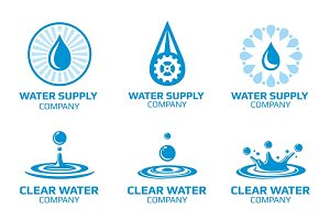 Water splashes and drops logo set