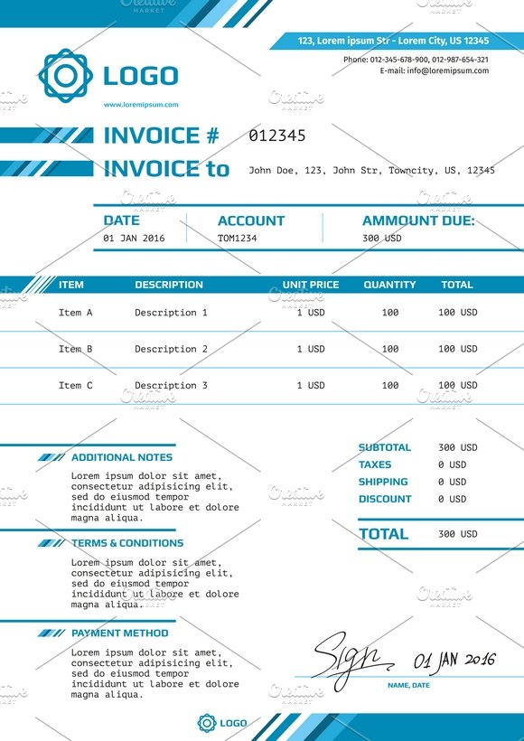 Invoice Vector Design Layout