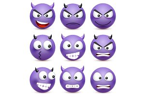 Smiley,emoticon set. Blue face with emotions. Facial expression. 3d realistic emoji. Sad,happy,angry faces.Funny cartoon character.Mood. Web icon. Vector illustration.