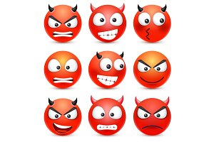 Smiley,emoticon set. Red face with emotions. Facial expression. 3d realistic emoji. Sad,happy,angry faces.Funny cartoon character.Mood. Web icon. Vector illustration.