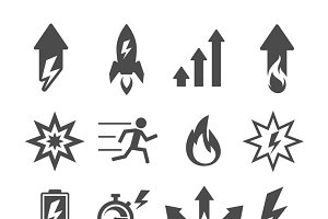 Set of action and efficiency icons
