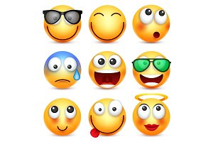 Smiley,emoticon set. Yellow face with emotions. Facial expression. 3d realistic emoji. Sad,happy,angry faces.Funny cartoon character.Mood. Web icon. Vector illustration.