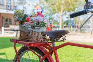 vintage bicycle equipped with flower