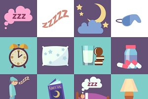 Sleep time vector flat icons