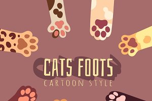 Vector background with cats foots