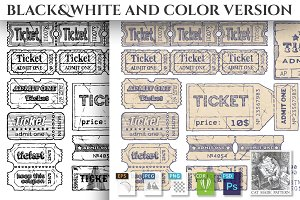Retro tickets set