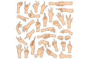 Gestures arms stop, palm, thumbs up, finger pointer, ok, like and pray or handshake, fist and peace or rock n roll. engraved hand drawn in old sketch style, vintage collection of emotion and signs.