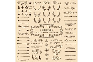 Huge pack or set engraved hand drawn in old or antique sketch style, vintage flourishes calligraphic design elements decorations. logo or emblems, retro label and badge. ornaments and monograms.