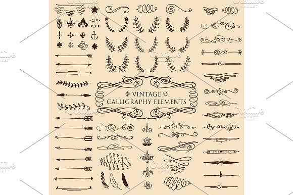 Huge Pack Or Set Engraved Hand Drawn In Old Or Antique Sketch Style Vintage Flourishes Calligraphic Design Elements Decorations Logo Or Emblems Retro Label And Badge Ornaments And Monograms