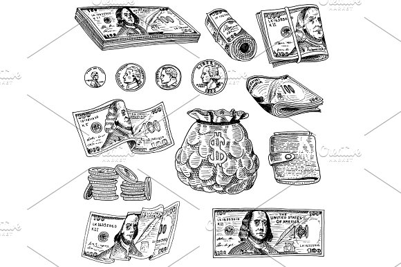 Detailed Currency Banknotes Or American Franklin Green 100 Dollars Or Cash And Coin Engraved Hand Drawn In Old Sketch Style Vintage Money Bill Icons Financial Success Of US Bag Or Purse Of Gold