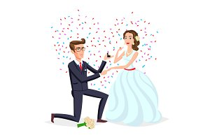 Wedding and marriage couple vector