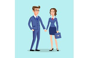 men woman pose office, vector