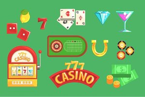 Gambling And Casino Night Club Set Of Symbols, Including Cards, Dices , Roulette Table, Chips And Slot Machine