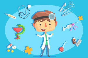 Boy Doctor, Kids Future Dream Professional Occupation Illustration With Related To Profession Objects