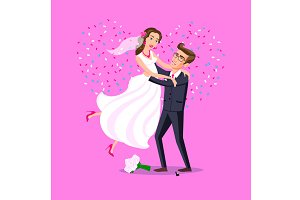 Just married funny couple vector