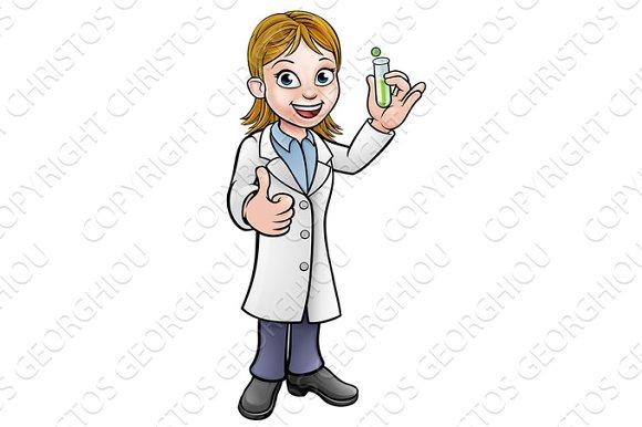 Cartoon Scientist Holding Test Tube