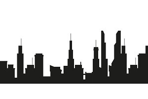 City silhouette on white background.
