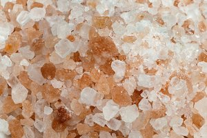 Natural coarse salt close up