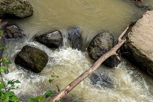 Beautiful tropical river in rainforest jungle of Bali island, Indonesia.