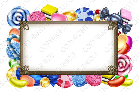 Candy Sweets Background Frame Sign