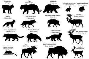 Silhouettes of animals of Eurasia