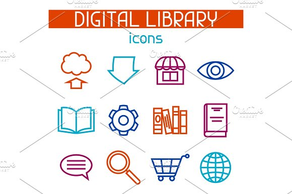 Digital Library Icon Set E-books Reading And Downloading