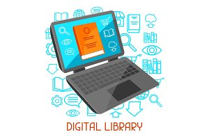 Digital library concept. Laptop with open book. E-book online reading