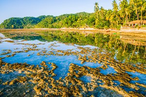 Beautiful morning reflection during low tide, El Nido, Palawan, Philippines