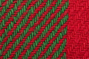 Handmade knit green and red backgrou