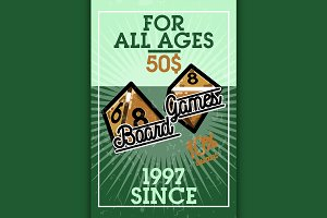 Color vintage bord games banner