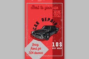 Color vintage car repair banner