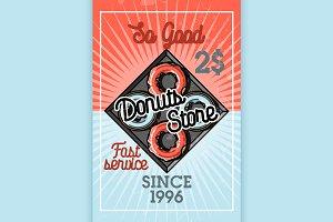 Color vintage donuts store banner