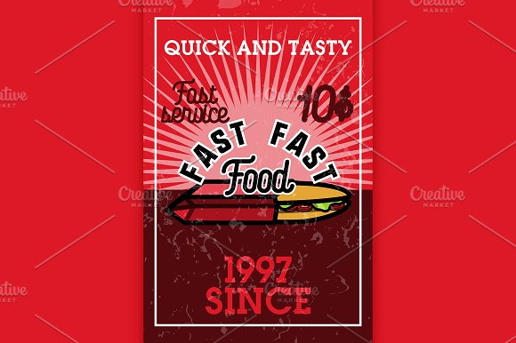 Color Vintage Fast Food Banner