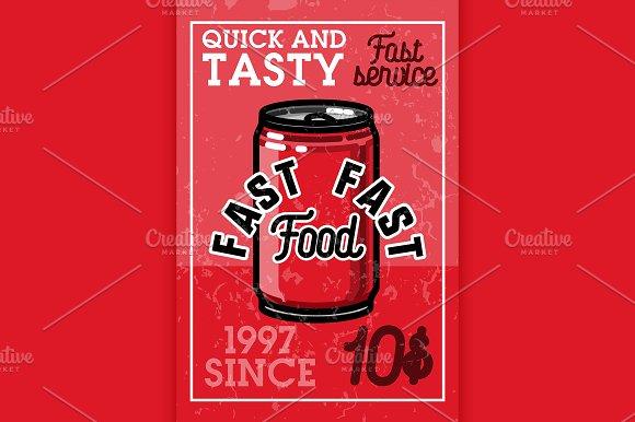 Color Vintage Fast Food Banner