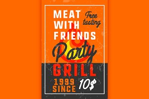 Color vintage grill party banner