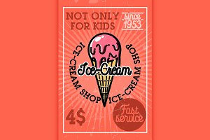 Color vintage ice-cream banner