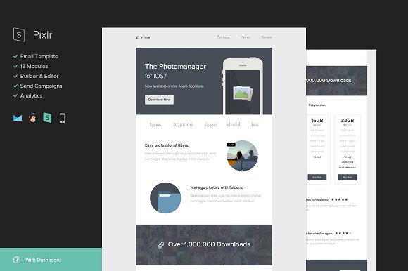 Pixlr Email Template Builder Email Templates Creative Market