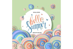 Summer sale vector banner design
