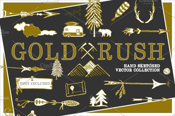 GOLD RUSH Hand-sketched Vectors