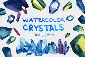 Watercolor crystals set