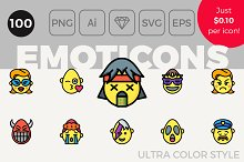 100 Emoji Icons - Ultra Color