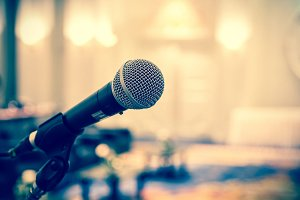 Microphone over the Abstract blurred