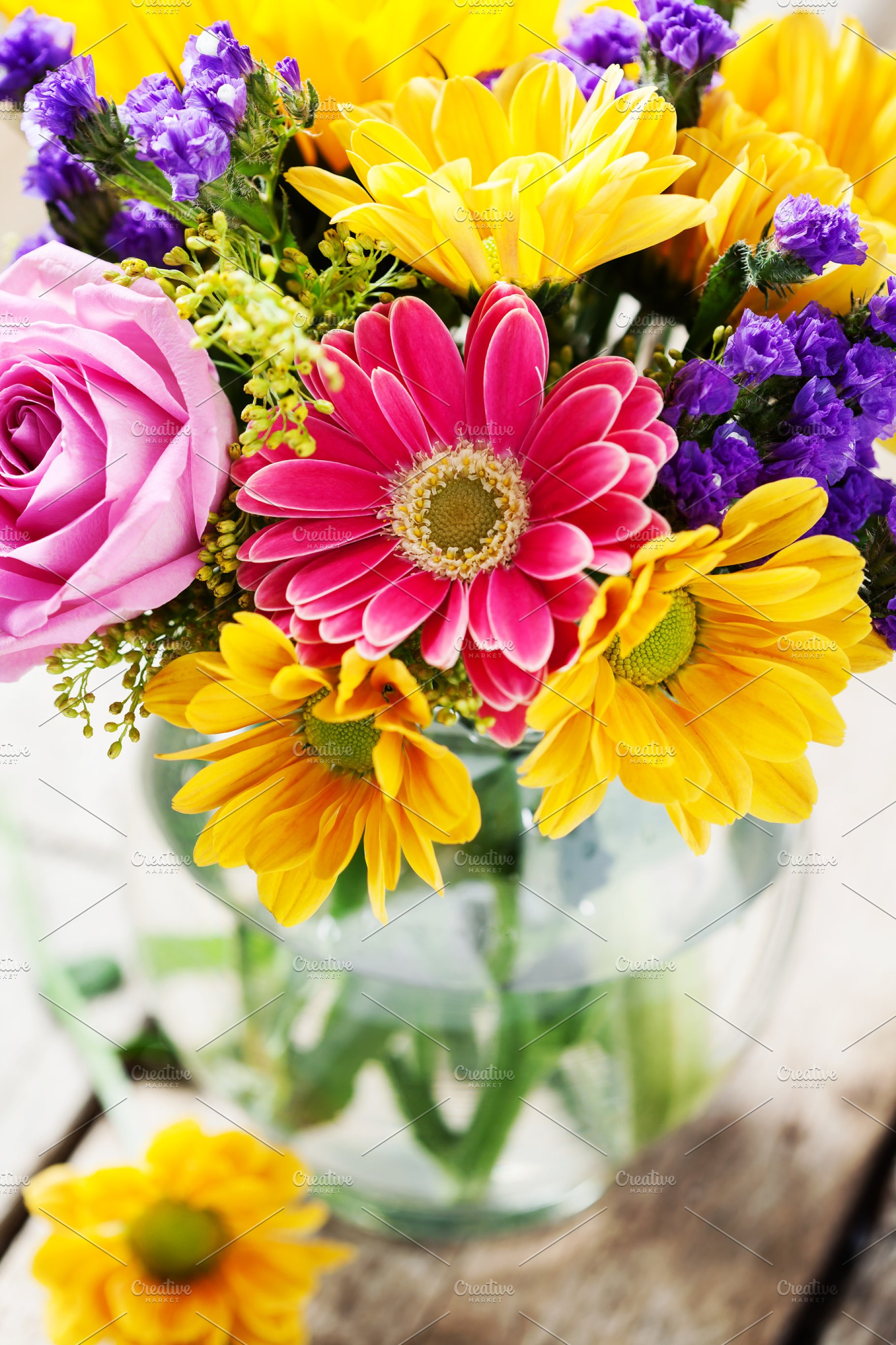 Bright Colorful Bouquet Of Autumn Flowers On Wooden Background