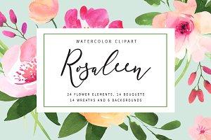 Rosaleen - watercolor clipart