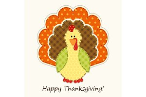 Cute Thanksgiving turkey as retro fabric applique in traditional colors