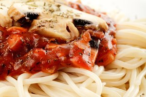 Spaghetti and champignons
