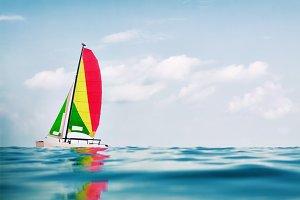 colorful sailing catamaran