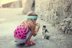 little girl plays with kitten