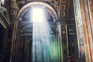 St. Peter Basilica with sun rays