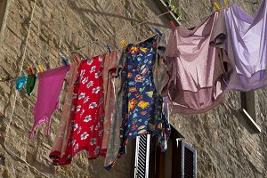 Colorful hanging clothes